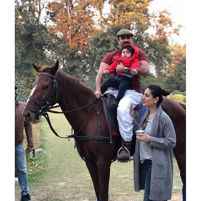 PIC: Baby Nawab Taimur Ali Khan goes horse riding with Saif and Kareena at Pataudi Palace